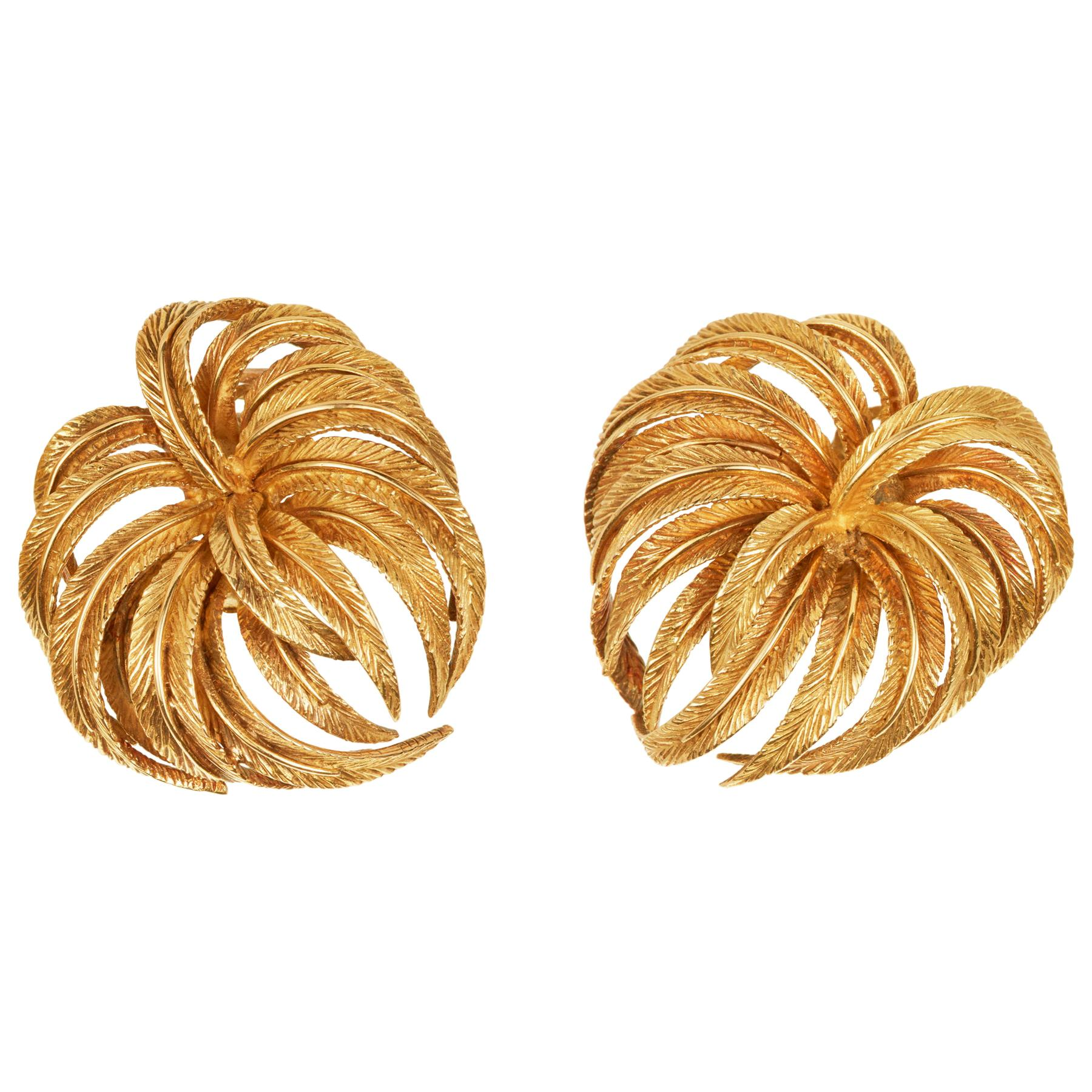 Clip back Earrings in 18K Yellow Gold with Palm Leaf Motif, Hand Made