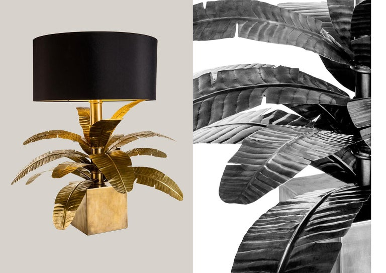 Brass base with black fabric shade, leaves individually hand worked. From the Jungle Dome collection designed by Massimiliano Giornetti long time creative director for Salvatore Ferragamo in collaboration with ARTECORNICI design.  This collection