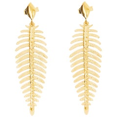 Palm Leaf Earring Dangles 14 Karat Gold Leaf Design, Original Drop Earrings