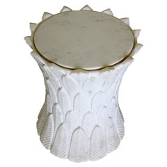 Palm leaves Marble Table in Agra White Marble