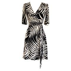 Palm print silk jersey true wrap dress NWT Flora Kung