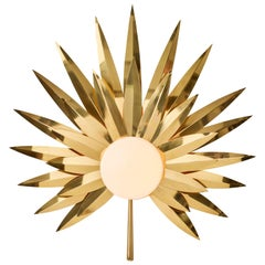 Gold 21st Century Brass Hand-Crafted Palm Sconce Wall Light