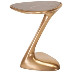 Palm Side Table, Gold Finish with Black Marble Top