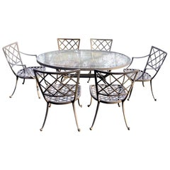 Palm Springs Cool Oval Brown Jordan Patio Table and Set of 6 Chairs