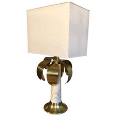 Palm Three Shaped Gold and White Table Lamp, Signed Spark, 1970s