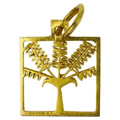 Palm Tree 18k Yellow Gold Square Charm Pendant
