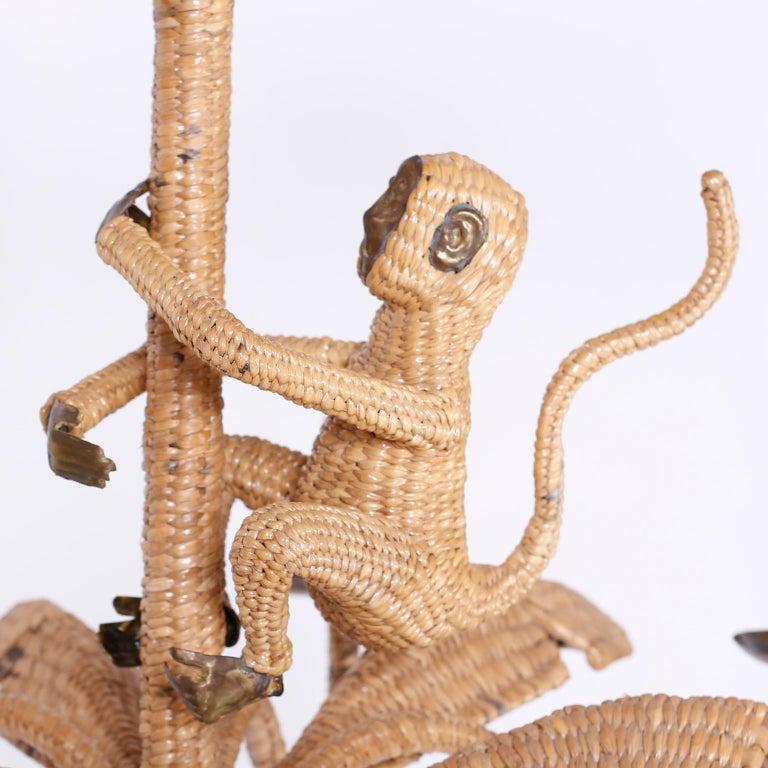 Folk Art Palm Tree and Monkey Wicker Chandelier For Sale
