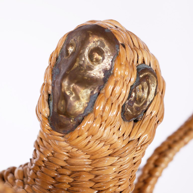 Mexican Palm Tree and Monkey Wicker Chandelier For Sale