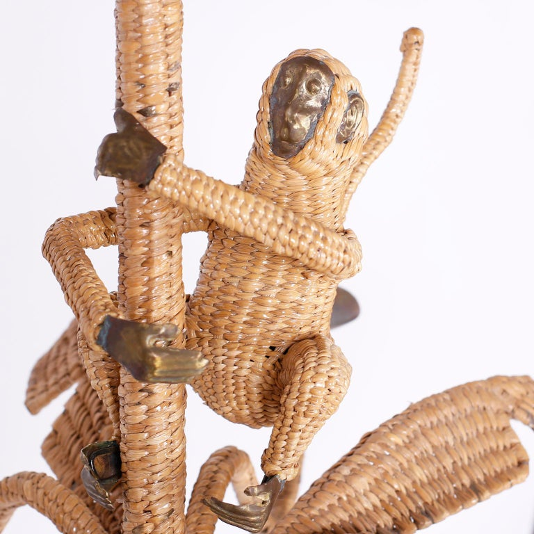 Palm Tree and Monkey Wicker Chandelier In Good Condition For Sale In Palm Beach, FL