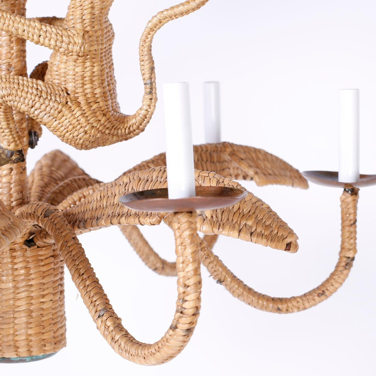20th Century Palm Tree and Monkey Wicker Chandelier For Sale
