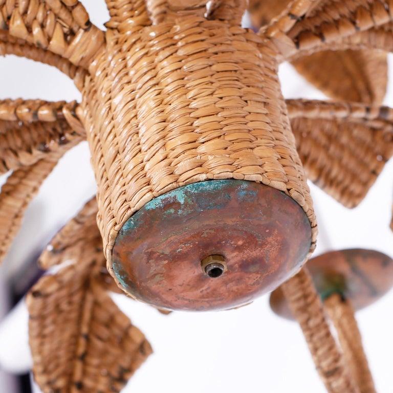 Palm Tree and Monkey Wicker Chandelier For Sale 3