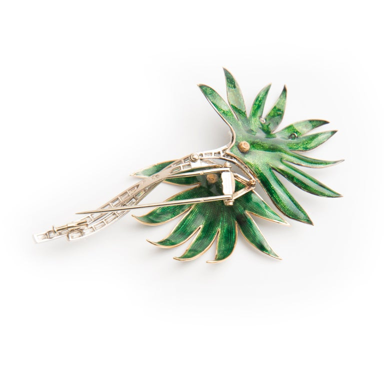 Palm Tree Brooch, Platinum, Green Enamel and Diamond, by Boucheron In Good Condition For Sale In London, GB