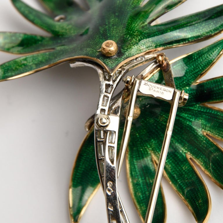 Women's or Men's Palm Tree Brooch, Platinum, Green Enamel and Diamond, by Boucheron For Sale