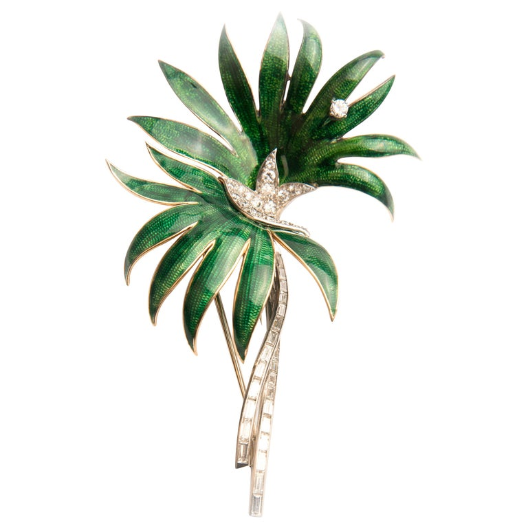 Palm Tree Brooch, Platinum, Green Enamel and Diamond, by Boucheron For Sale