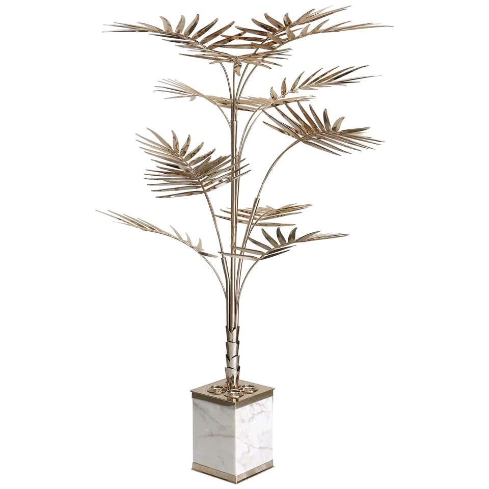 Palm Tree Floor Lamp in Brass with Marble Base