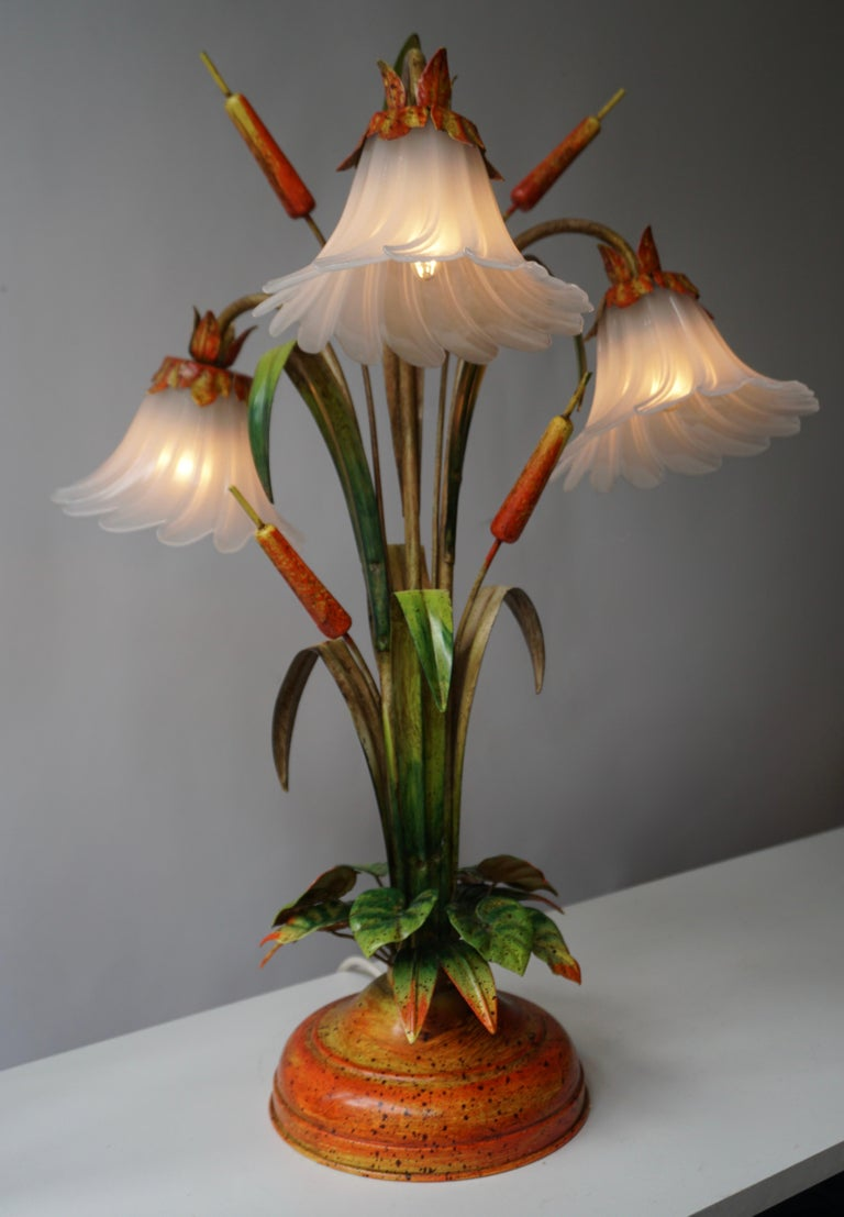 Belgian Palm Tree-Form Tole Painted and Glass Floral Lamp For Sale