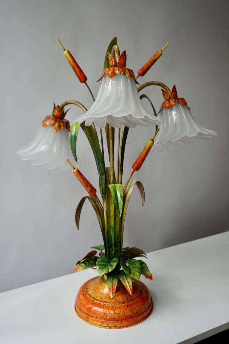 20th Century Palm Tree-Form Tole Painted and Glass Floral Lamp For Sale