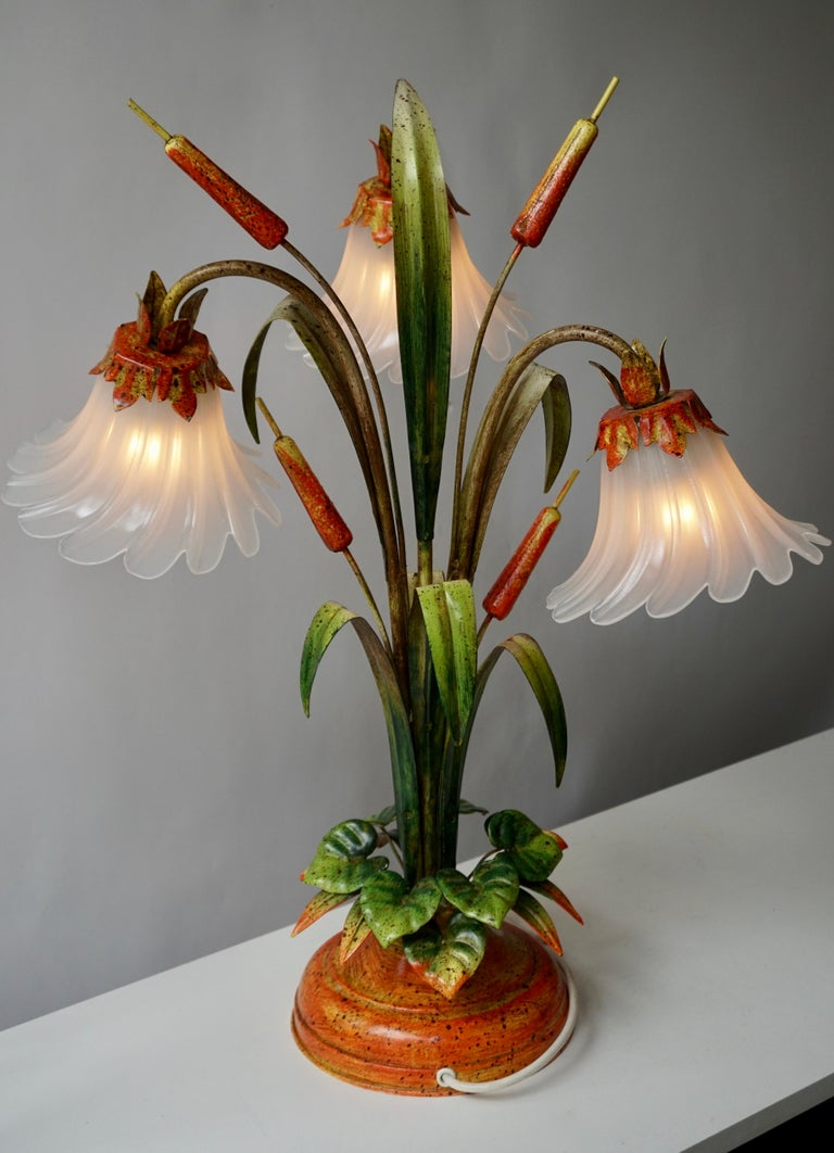 Palm Tree-Form Tole Painted and Glass Floral Lamp For Sale 1