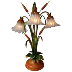 Palm Tree-Form Tole Painted and Glass Floral Lamp