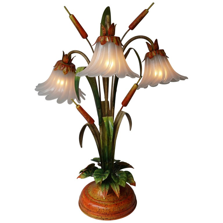 Palm Tree-Form Tole Painted and Glass Floral Lamp For Sale