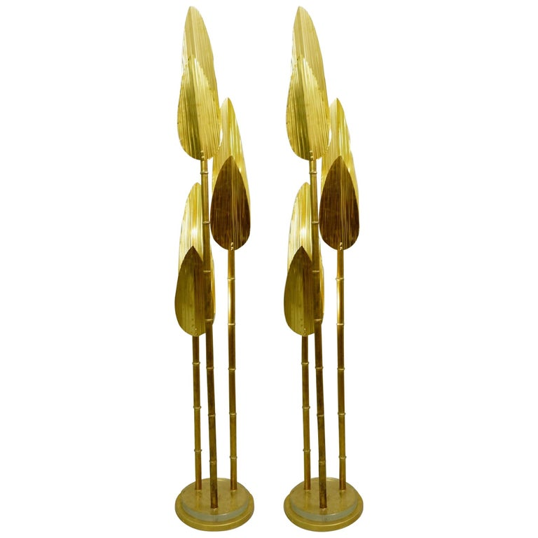 Palm Tree Gold Floor Lamp, 2 Pairs Available For Sale