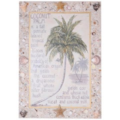 Palm Tree Painting on Canvas with Seashell Frame