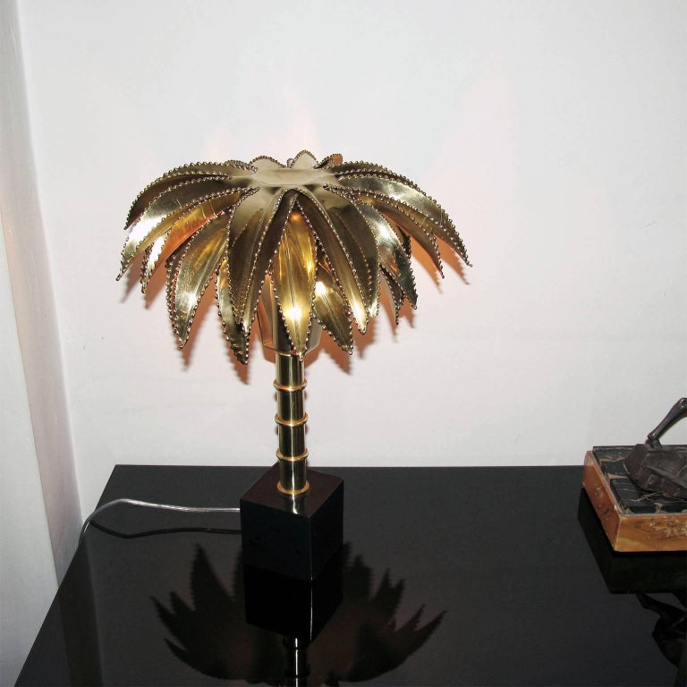 An Exquisite Table Lamp In The Style Of Maison Jansen Shaped Like A Palm Tree