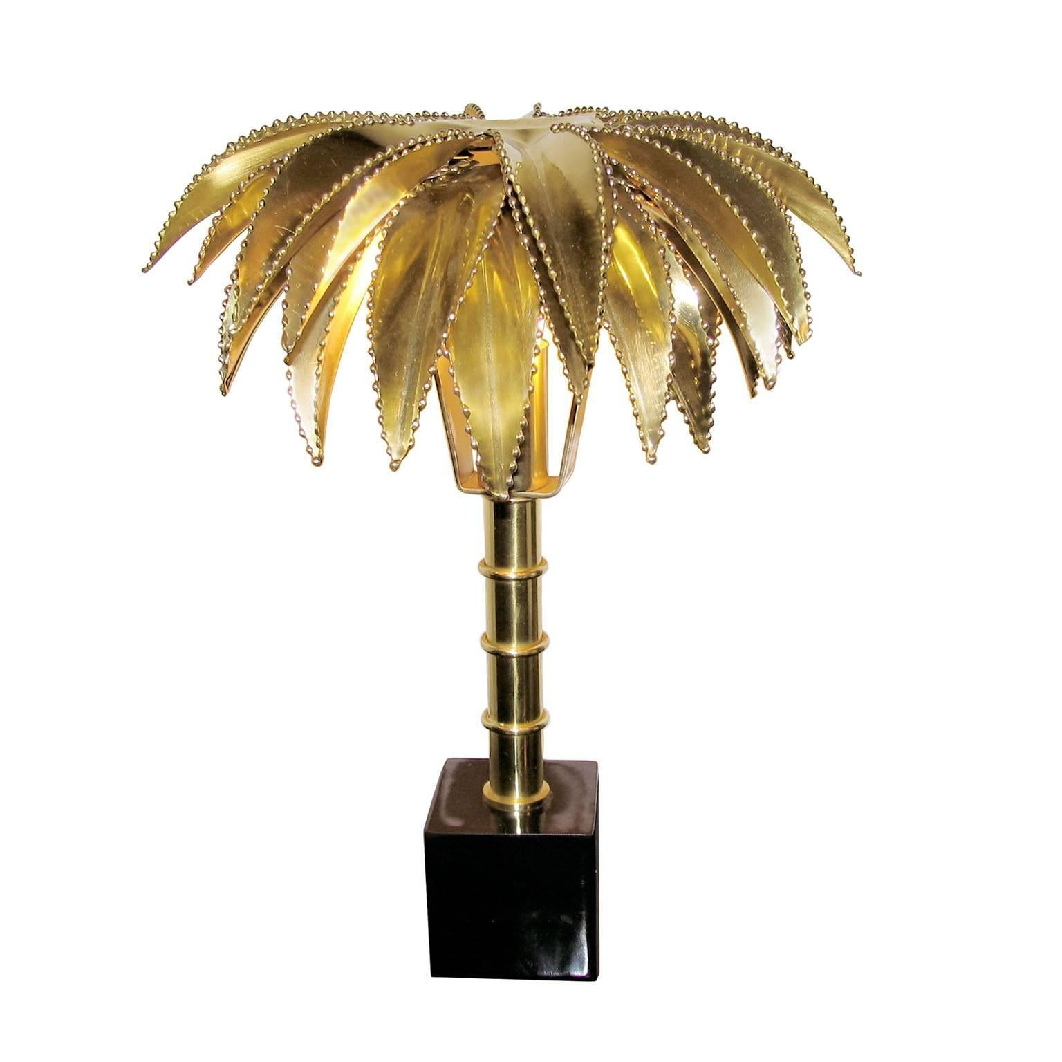 Palm Tree Table Lamp In The Style Of Maison Jansen For Sale