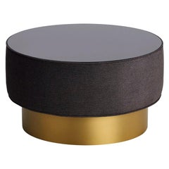 Palma II Coffee Table with Black Glass Top and Antique Brass Lacquer Base