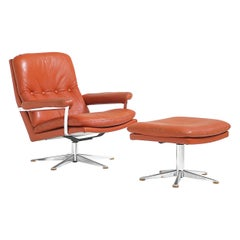 Palma Lounge Chair in Original Leather by Werner Langenfeld for ESA