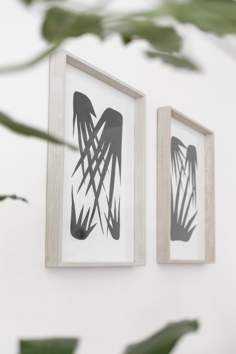 Indian ink on cotton paper illustration framed in bleached pine wood and glass. Palms inspired illustration by Diego Hernández Beauroyre.