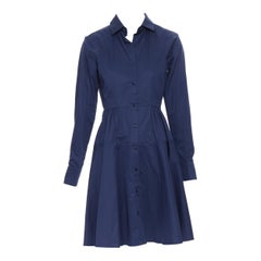 PALMER HARDING 100% cotton navy blue fit flare casual cotton dress UK8 XS