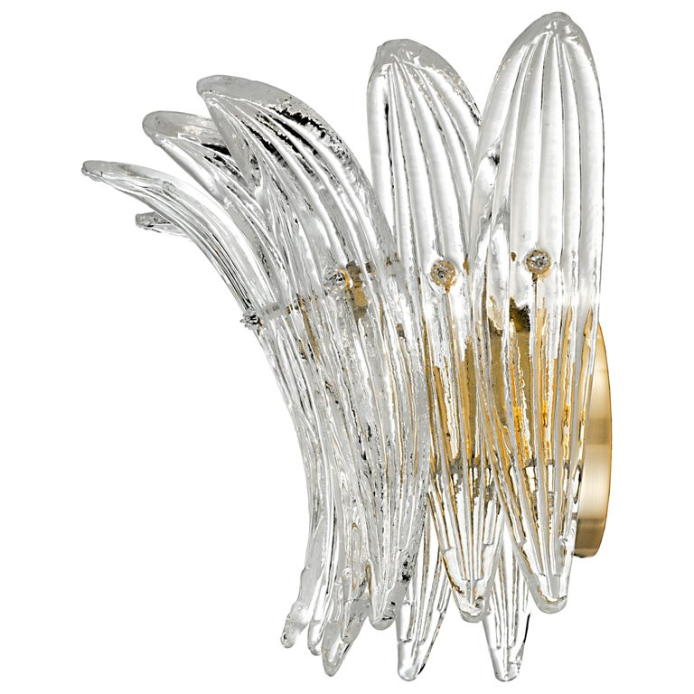 Palmette 5310 1 Wall Sconce in Crystal Glass, by Barovier&Toso For Sale
