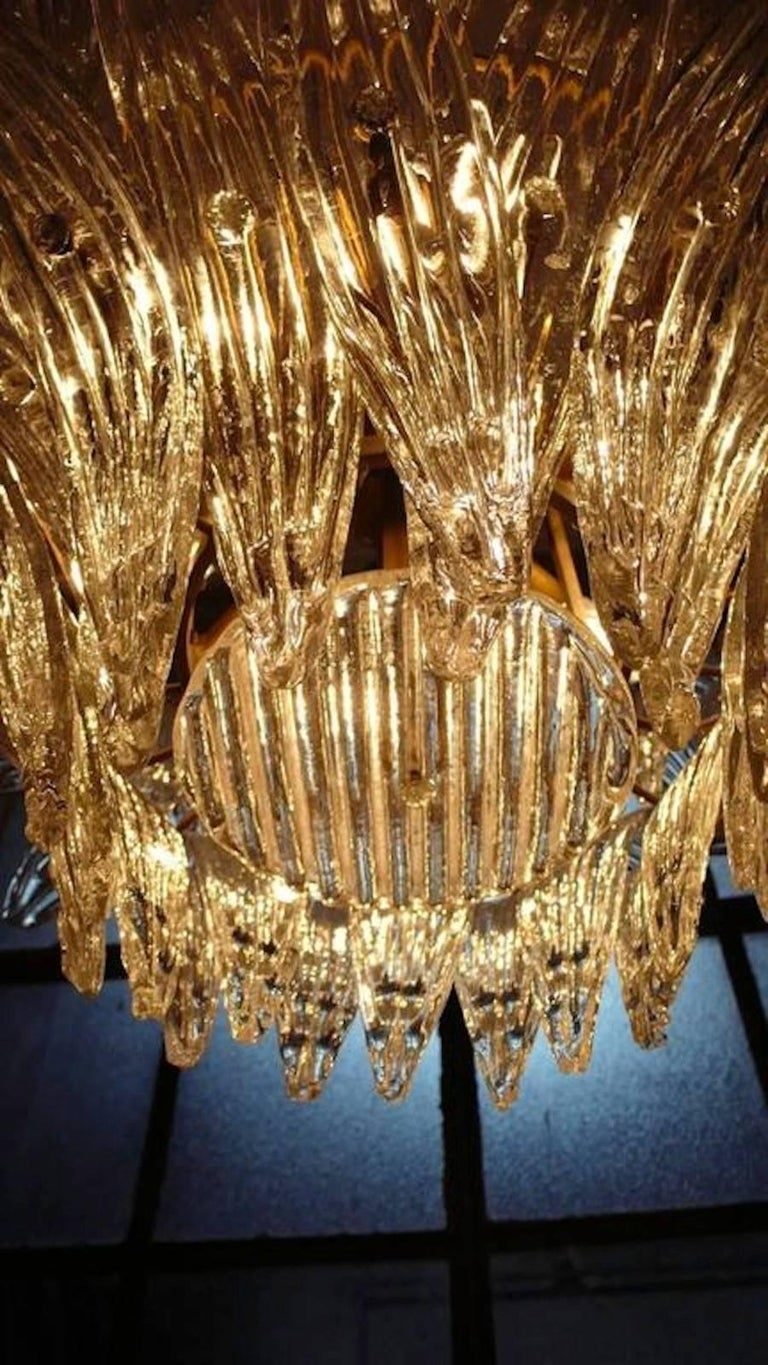 Palmette Chandelier Barovier & Toso Style, Murano In Excellent Condition In Budapest, HU