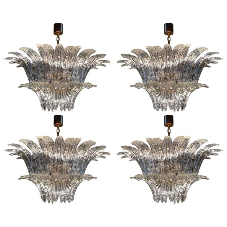 Palmette Chandelier Barovier & Toso Style, Murano For Sale