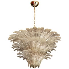 Palmette Murano Glass Chandelier of Flush Mount in the Manner of Barovier & Toso