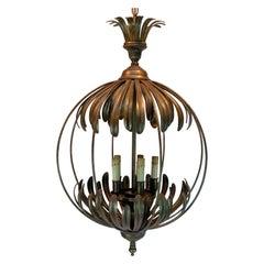 Palmette Patinated Brass Orb Chandelier