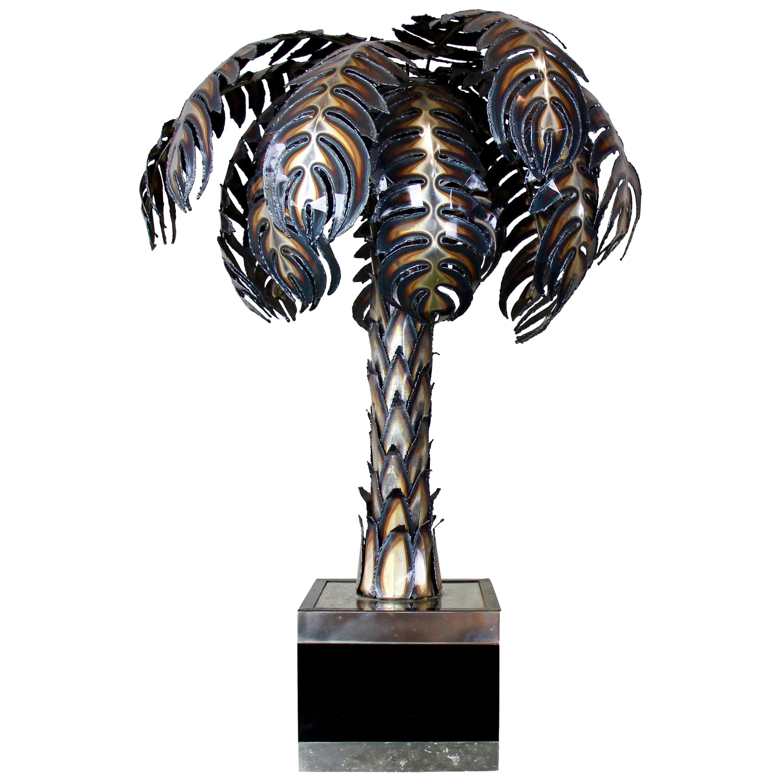 """Palmier"" Palm Tree Lamp by Maison Jansen, France, 1970s, Hollywood Regency"