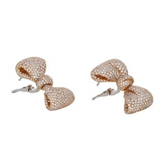 Palmiero 18 Karat Yellow Gold Diamond Bow Earrings