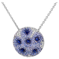 Palmiero Shaded Blue Sapphire Diamond 18 Karat Gold Circle Pendant Necklace