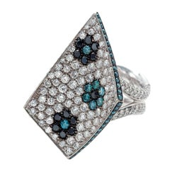 Palmiero White and Blue Diamond Gold Ring