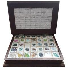 Palmwood Book Box of 35 Mineral Specimens from Democratic Republic of Congo