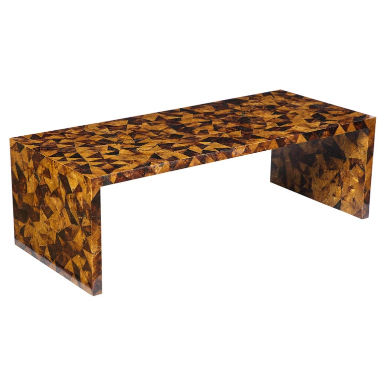 Palmwood Low Coffee Table, Modern For Sale