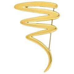Paloma Picasso 1993 Tiffany & Co. 18 Karat Gold Large Scribble Brooch Squiggly