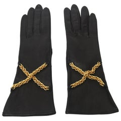 Paloma Picasso Back Leather and Brass Chain Gloves Pair Of