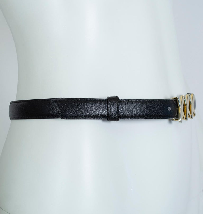 Paloma Picasso Black Leather Triple X Kiss Belt with Gold Hardware – M, 1980s In Good Condition For Sale In Phoenix, AZ