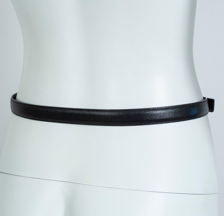 Women's Paloma Picasso Black Leather Triple X Kiss Belt with Gold Hardware – M, 1980s For Sale
