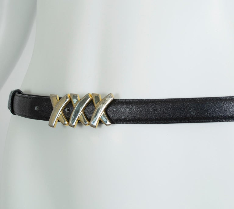 Paloma Picasso Black Leather Triple X Kiss Belt with Gold Hardware – M, 1980s For Sale 2