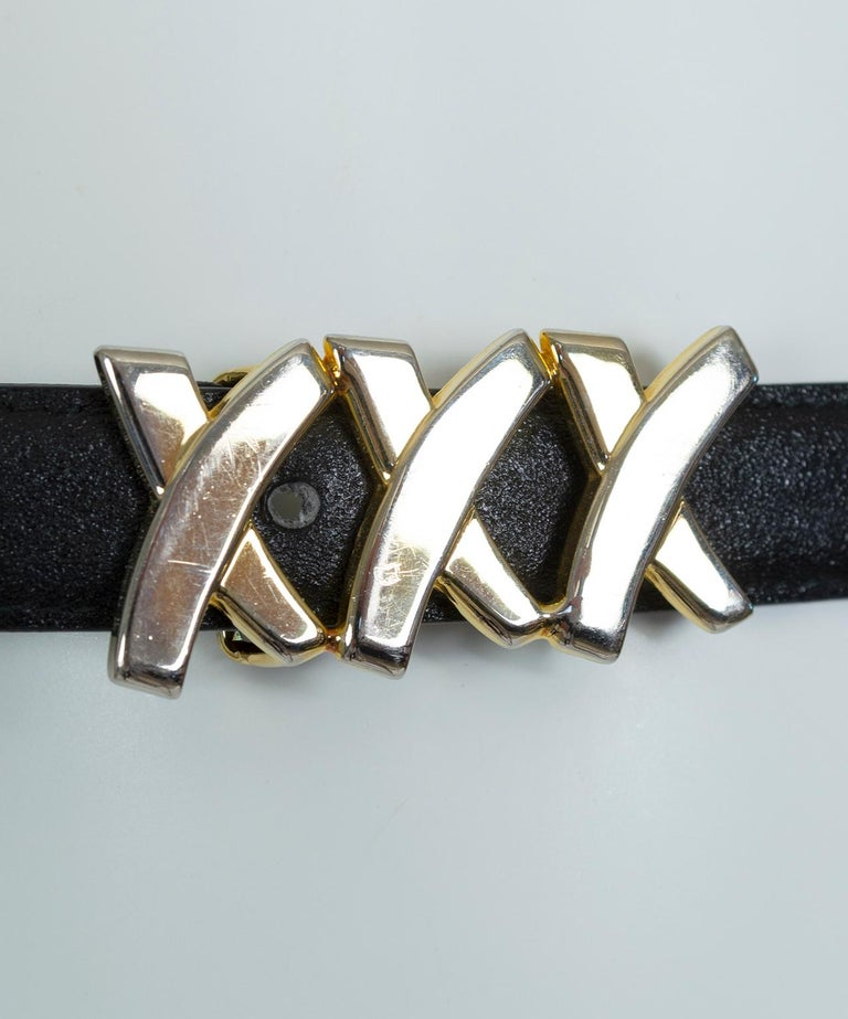 Paloma Picasso Black Leather Triple X Kiss Belt with Gold Hardware – M, 1980s For Sale 3