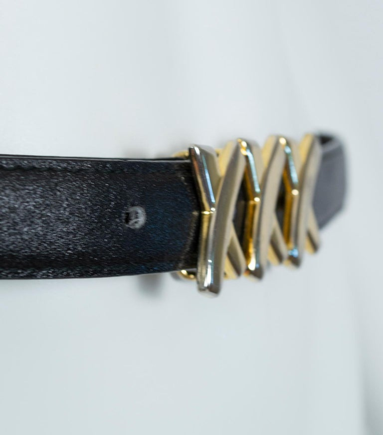 Paloma Picasso Black Leather Triple X Kiss Belt with Gold Hardware – M, 1980s For Sale 4